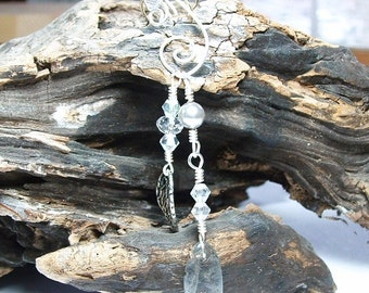 Labradorite Rainflower Dangle Ear Cuff, No Piercing Earrings, Gypsy Earrings, Bohemian Wedding Jewelry, Bridal Ear Cuff