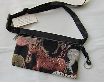 Tapestry Fabric HORSE Equestrian Horse Small Waist Pack made in USA....choose style
