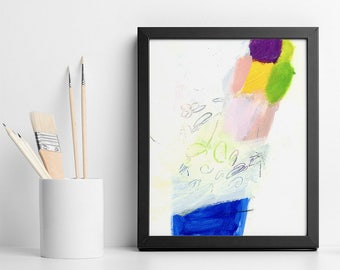 """ABSTRACT PAINTING Small Art Original acrylic painting """"California Trip 02"""" colorful ice cream gift for best friend"""