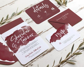 Burgundy Watercolor Wedding Invitation
