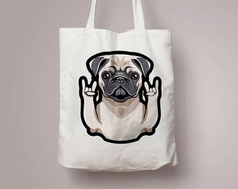 Pug Tote Bag, Pug Canvas Bag, Pug Owner Gift, Pug Lover Gift, Dog Lover, Mother's Day Gift, Gift for Mom Shopping Bag Christmas Gift for Her