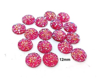 10 pcs Druzy Resin Embellishment Cabochons Hot Pink - 12mm (1/2 in) - Dome Circle