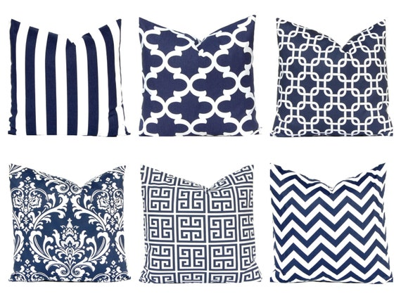 Navy Blue Decorative Bed Pillows: Items Similar To Blue Pillow Covers