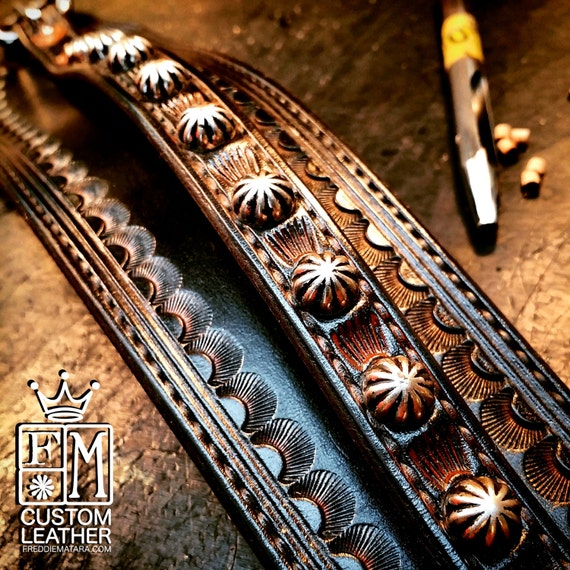 Leather Wrist Cuff Black distressed Traditional American Cowboy techniques ROCKSTAR Bracelet made for YOU in USA by Freddie Matara