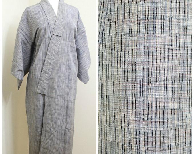 Japanese Vintage Kimono. Silk Woven Ikat Kasuri Robe. Gray Blue Multi Weave. (Ref: 1152)