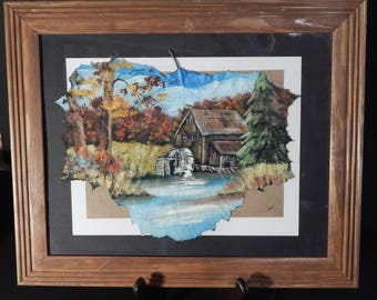 The old Mill Hand painted Sycamore leaf