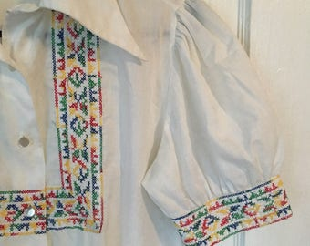 Vintage Blouse 80s puff sleeves embroidery Judy Bond short sleeve size large