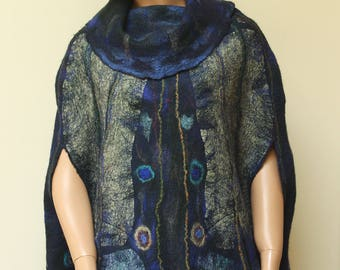 Blue poncho cape Night butterfly