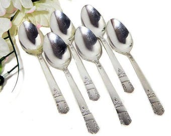 Six Wm Rogers Oneida Silverplate Teaspoons 1938 Harmony Art Deco