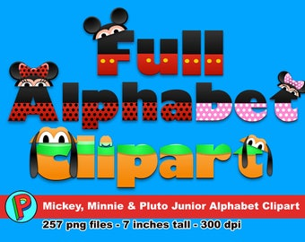 Mickey Minnie & Pluto - Full Alphabet Clipart - 257 png files 7 inches tall 300 dpi - Instant Download