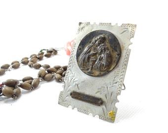 Catholic Souvenir - First Communion Souvenir - Holy Communion Plaque - Jesus Christ Plaque - Antique Holy Medallion
