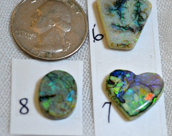 Sterling opal cabochons 6,7, 8  each sold separately.  No. 8 still available