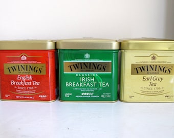 Empty tea tins for use in craft projects set of 3