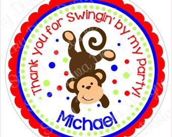 PERSONALIZED STICKERS - Custom Birthday Monkey Boy Personalized Labels -  Gloss Labels or Tags