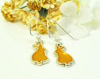 RESERVED Yellow Bunny Earrings Marigold - Cute Bunny - Pet Bunny Rabbit - Bunny Jewelry - Nature Lover Gift - Rabbit Earrings - Woodland