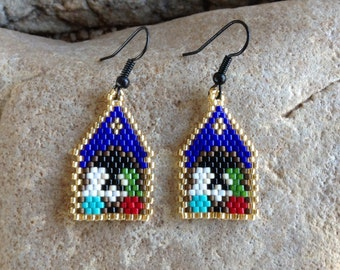 Christmas Nativity Peyote Beaded Earrings