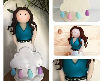 Handmade girl gift, clouds and rainbows gift, raindrop, pastel coloured home decor, ornament, polymer clay gift, birthday gift