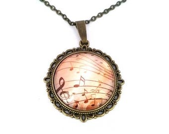 Cabochon necklace, music vintage Locket music cabochon 25 mm, bronze, glass, retro, length 60 cm, gift idea, alodycrea