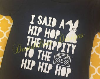 Boy's Easter Shirt Hip Hop Bunny Cool Kids Shirt Hippity Hop Boom Box Baby Boy
