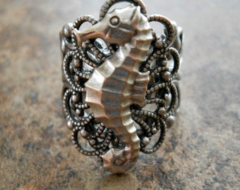 Seahorse Filigree Ring in Antiqued Silver