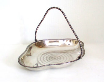 Vintage SilverPlate Basket Bowl for Serving or Storage with Hinged Swing Handle and Decorative Rim Design EPNS Made in England