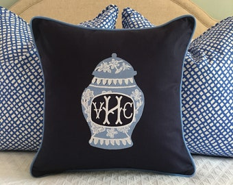 Monogrammed Ginger Jar Pillow Cover