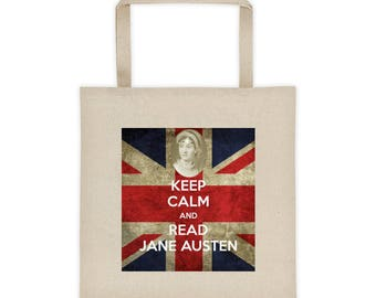 Keep Calm and Read Jane Austen British Union Jack Flag Tote bag