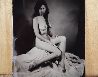 Nude model figure study tintype Kelsey-03