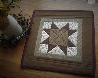 Quilted Table Topper /  Quilted Candle Mat / Table Topper / Farmhouse Decor / Primitive Decor / Country Decor / Handmade