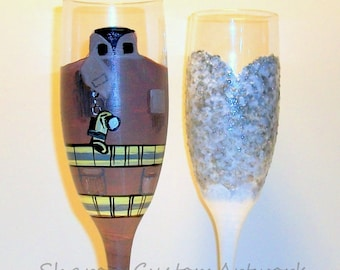 Fire Fighter Bunker Gear -Hand Painted Champagne Flutes Wedding Dress and Uniform Set of 2 - 6 oz. Toasting Wedding  Personalized Fire Gear