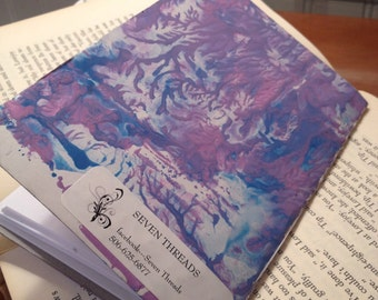 Junkmail notebook recycled paper hand painted cover purple