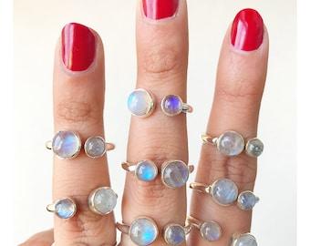 Adjustable Ring * Rainbow Moonstone Ring * Labradorite Ring * Moonstone Labradorite Ring * Blue Labradorite Ring * Mermaid Ring * Ocean Ring