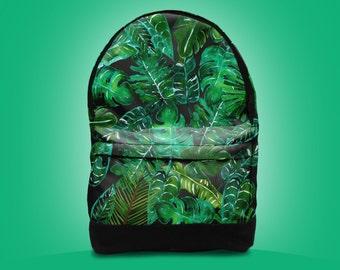 SALE!  Tropical leaves leaf backpack bag