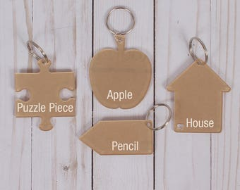 NEW LOWER PRICE!! Clear Acrylic Keychains.  Lots of Shapes Available.