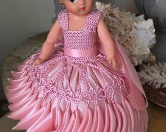 Southern Belle Pink vintage Ribbon Doll Handcrafted articulated head and arms