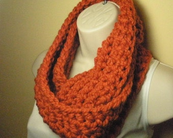 Pumpkin Orange Wool Cowl Infinity Circle Scarf Neckwarmer