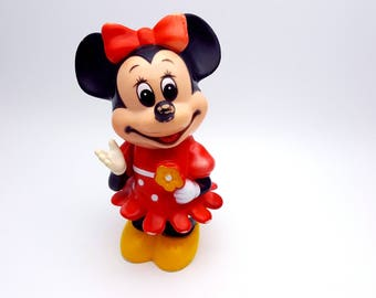 Rare Minnie Mouse Made in Korea Plastic Coin Bank Vintage Walt Disney Productions Mickey Mouse