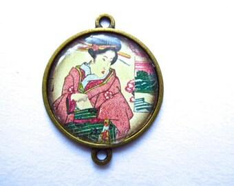 Asian pendant, Japanese geisha connector bronze metal, silicone, 2, 5 cm in diameter