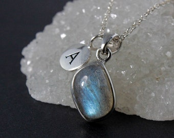 Free Form Blue Labradorite Initial Necklace - Personalized Necklace - 925 Silver