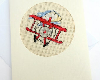 Boy's or Dad's Aeroplane Cross Stitch Card