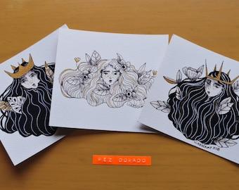Set of 3 prints. Floral Illustrations.