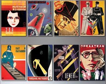 Soviet Film Posters fridge magnets set of 8 stylised vintage 1920s 1930s magnets