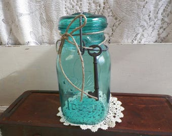 Vintage Aqua REPRODUCTION Blue Ball Ideal Bicentennial Jar with Skeleton Key Quart Sized Aqua Blue Glass Lid  C30