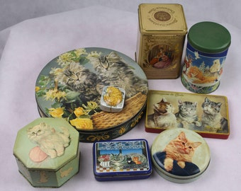 Eight Vintage Tin boxes with Cat Lover Biscuit Tin England