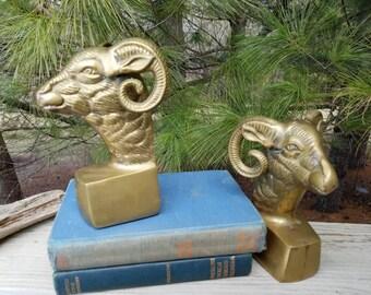 Solid Brass Ram Head Bookends
