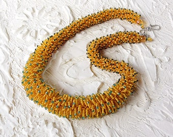 Beaded Necklace, Golden color, Unique necklace, Beaded jewelry, Seed bead Necklace