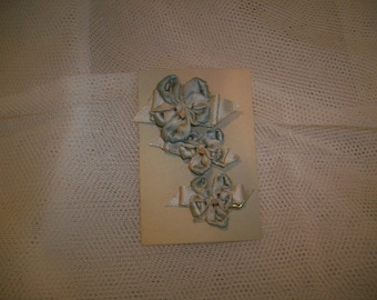 rare silk satin antique authentic ribbon work pansy pin