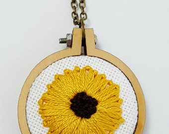 Sunflower Embroidery Necklace, Floral Embroidery, Tiny Hoop Necklace, Sunflower Jewelry, Summer Wedding, Bridesmaid Gift, Fall Wedding Gift