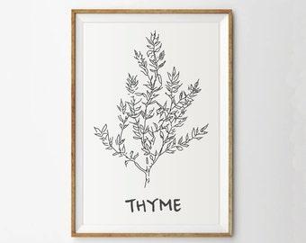 Thyme print - Herb print - Kitchen print - Botanical print - Garden print - Spring art  - Digital print - Thyme - Plant print - Kitchen art