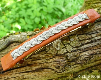 Sami Hair Clip SLEIPNER Norse Viking Cognac Brown Reindeer Leather Barrette with braided Pewter silver wire - Handcrafted in your Color